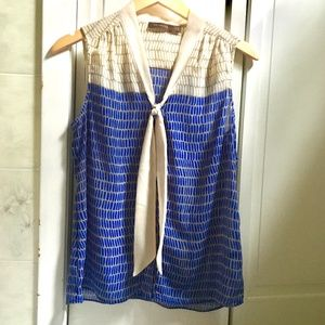 {The Limited} Sailor Blue & Cream Tie Front Tank